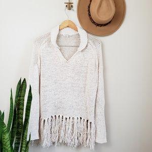 Moon & Meadow boho fringe sweater ivory knit L